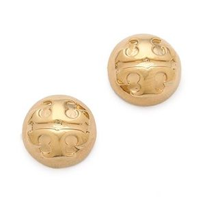 Tory Burch small domed gold logo studs earrings
